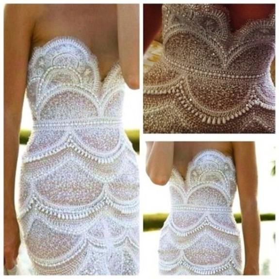 PEARL FASHION: Amazing $50,000 Wedding Dress with Pearls by J\'Aton ...