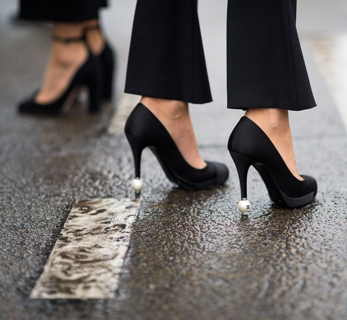 Street style shot of chanel pearl high heels for Chanel haute couture price range
