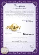 product certificate: Y-14k-ball-clasp