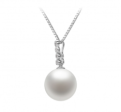 10-11mm AAAA Quality Freshwater Cultured Pearl Pendant in Ross White