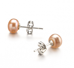 6-7mm AA Quality Freshwater Cultured Pearl Earring Pair in Pink