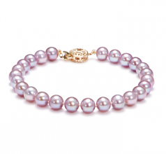 6-7mm AAAA Quality Freshwater Cultured Pearl Bracelet in Lavender