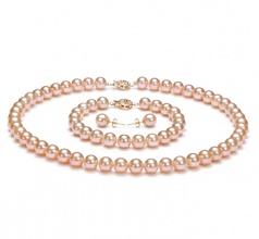 7-8mm AAAA Quality Freshwater Cultured Pearl Set in Pink