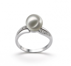 7-8mm AAA Quality Japanese Akoya Cultured Pearl Ring in Caroline White