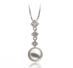 8-9mm AAA Quality Japanese Akoya Cultured Pearl Pendant in Rozene White