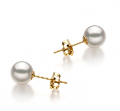 6.5-7mm Hanadama - AAAA Quality Japanese Akoya Cultured Pearl Earring Pair in Hanadama White