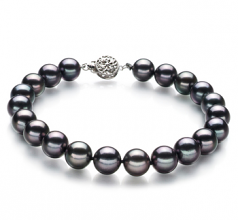 8.5-9mm AAA Quality Japanese Akoya Cultured Pearl Bracelet in Black