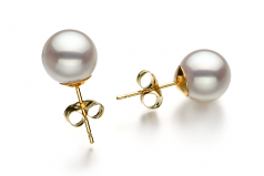 8.5-9mm Hanadama - AAAA Quality Japanese Akoya Cultured Pearl Earring Pair in Hanadama White