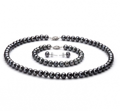 6-7mm AA Quality Freshwater Cultured Pearl Set in Black