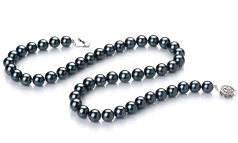 7.5-8mm AA Quality Japanese Akoya Cultured Pearl Set in Black