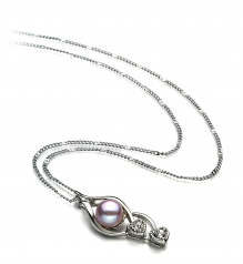 7-8mm AA Quality Freshwater Cultured Pearl Pendant in Eudora Lavender