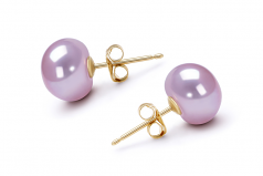 9-9.5mm AAA Quality Freshwater Cultured Pearl Earring Pair in Lavender