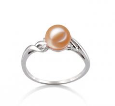6-7mm AAAA Quality Freshwater Cultured Pearl Ring in Andrea Pink