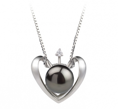 9-10mm AA Quality Freshwater Cultured Pearl Pendant in Heart Black