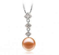 9-10mm AAAA Quality Freshwater Cultured Pearl Pendant in Rozene Pink