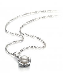 6-7mm AA Quality Freshwater Cultured Pearl Pendant in Vera White