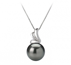 10-10.5mm AAA Quality Tahitian Cultured Pearl Pendant in Amara Black