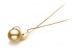 10-11mm AA Quality South Sea Cultured Pearl Pendant in Rosalie Gold