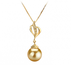 10-11mm AAA Quality South Sea Cultured Pearl Pendant in Damica Gold