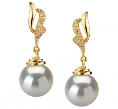 10-11mm AAA Quality South Sea Cultured Pearl Earring Pair in Bianka White