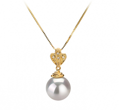 10-11mm AAA Quality South Sea Cultured Pearl Pendant in Ivana White