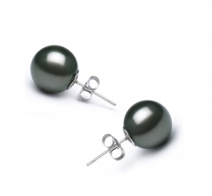 10-11mm AA Quality Tahitian Cultured Pearl Earring Pair in Black