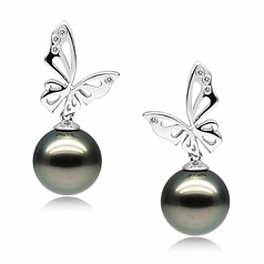 10-11mm AAA Quality Tahitian Cultured Pearl Earring Pair in Butterfly Black