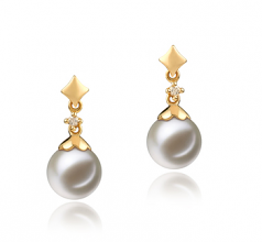 7-8mm AAAA Quality Freshwater Cultured Pearl Earring Pair in Georgia White