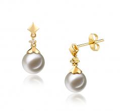 7-8mm AAAA Quality Freshwater Cultured Pearl Earring Pair in Georgia White