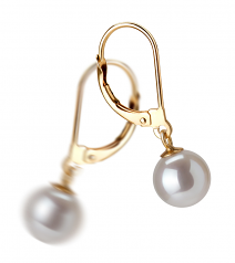 7-8mm AAAA Quality Freshwater Cultured Pearl Earring Pair in Marcella White