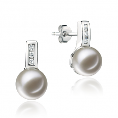 7-8mm AAAA Quality Freshwater Cultured Pearl Earring Pair in Valery White