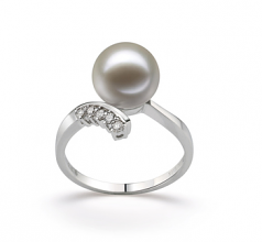 9-10mm AAAA Quality Freshwater Cultured Pearl Ring in Grace White