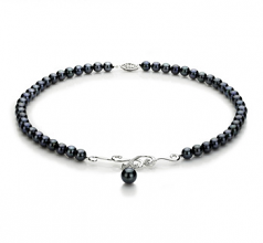 6-9mm AA Quality Japanese Akoya Cultured Pearl Necklace in Almira Black