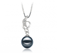 8-9mm AA Quality Japanese Akoya Cultured Pearl Pendant in Naomi Black