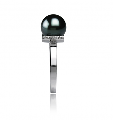 8-9mm AA Quality Japanese Akoya Cultured Pearl Ring in Francine Black
