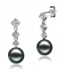 8-9mm AAA Quality Japanese Akoya Cultured Pearl Earring Pair in Rozene Black