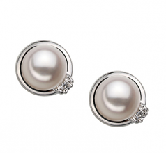 6-7mm AA Quality Japanese Akoya Cultured Pearl Earring Pair in Jocelyn White