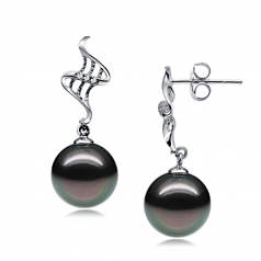 9-10mm AAA Quality Tahitian Cultured Pearl Earring Pair in Lure Black