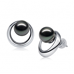 9-10mm AAA Quality Tahitian Cultured Pearl Earring Pair in Rising Sun Black