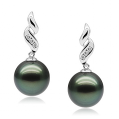 9-10mm AAA Quality Tahitian Cultured Pearl Earring Pair in Seductive Black