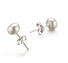 6-7mm AA Quality Freshwater Cultured Pearl Earring Pair in White
