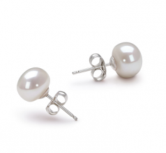 7-8mm AA Quality Freshwater Cultured Pearl Earring Pair in White