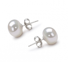 9-10mm AA Quality Freshwater Cultured Pearl Earring Pair in White