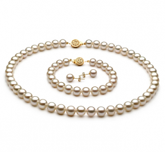 7-8mm AAAA Quality Freshwater Cultured Pearl Set in White