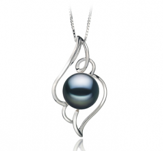 12-13mm AA Quality Freshwater Cultured Pearl Pendant in Hannah Black