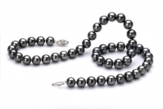 7.5-8.5mm AA Quality Freshwater Cultured Pearl Necklace in Black