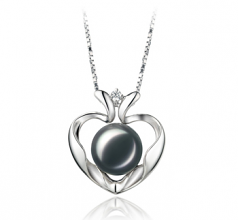 9-10mm AA Quality Freshwater Cultured Pearl Pendant in Marlina Heart Black