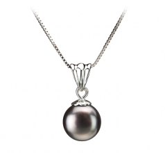 9-10mm AA Quality Freshwater Cultured Pearl Pendant in Nancy Black