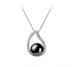 9-10mm AA Quality Freshwater Cultured Pearl Set in Isabella Black