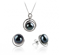 9-10mm AA Quality Freshwater Cultured Pearl Set in Kelly Black